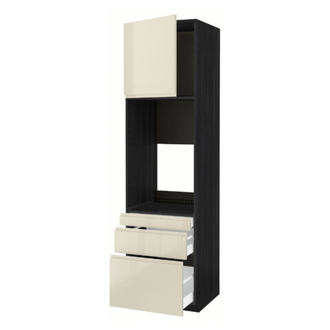 Высокий шкаф для двойной духовки, 3 ящика, дверца МЕТОД / МАКСИМЕРА черный артикуль № 291.683.67 в наличии. Online сайт IKEA Минск. Быстрая доставка и установка.