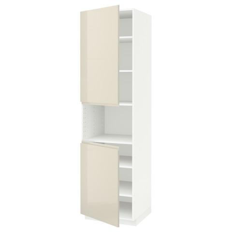 Высокий шкаф для/СВЧ, 2 дверцы, полки МЕТОД белый артикуль № 291.435.84 в наличии. Онлайн магазин IKEA РБ. Быстрая доставка и монтаж.