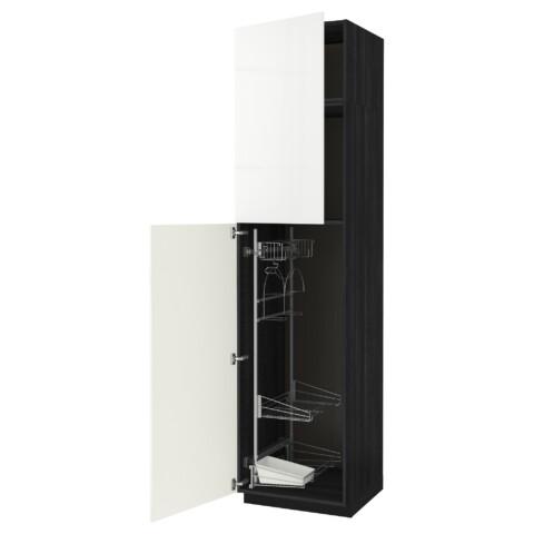Высокий шкаф с отделением для аксессуаров, для уборки МЕТОД черный артикуль № 191.642.99 в наличии. Онлайн сайт IKEA Беларусь. Быстрая доставка и соборка.