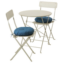 Стол + 2 складных стула для сада САЛЬТХОЛЬМЕН синий артикуль № 091.838.25 в наличии. Онлайн сайт IKEA Беларусь. Быстрая доставка и монтаж.