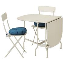 Стол + 2 складных стула для сада САЛЬТХОЛЬМЕН миндально-белый артикуль № 092.181.08 в наличии. Интернет магазин ИКЕА Беларусь. Быстрая доставка и установка.