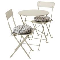 Стол + 2 складных стула для сада САЛЬТХОЛЬМЕН бежевый артикуль № 191.838.20 в наличии. Интернет каталог IKEA Минск. Недорогая доставка и монтаж.