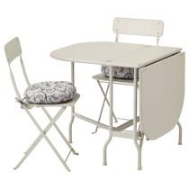 Стол + 2 складных стула для сада САЛЬТХОЛЬМЕН бежевый артикуль № 192.181.17 в наличии. Online каталог ИКЕА РБ. Быстрая доставка и установка.