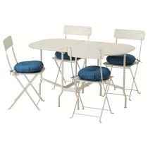 Стол + 4 складных стула, для сада САЛЬТХОЛЬМЕН синий артикуль № 192.180.99 в наличии. Online каталог IKEA РБ. Быстрая доставка и монтаж.