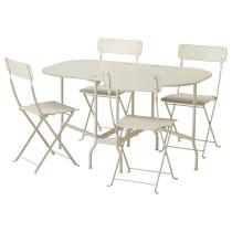 Стол + 4 складных стула, для сада САЛЬТХОЛЬМЕН бежевый артикуль № 292.180.94 в наличии. Интернет каталог ИКЕА РБ. Недорогая доставка и монтаж.