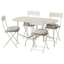 Стол + 4 складных стула, для сада САЛЬТХОЛЬМЕН бежевый артикуль № 392.181.02 в наличии. Online сайт IKEA Минск. Недорогая доставка и монтаж.