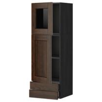 Навесной шкаф, дверцы, стеклянные дверцы, 2 ящика МЕТОД / МАКСИМЕРА черный артикуль № 391.091.55 в наличии. Интернет магазин IKEA Беларусь. Недорогая доставка и установка.