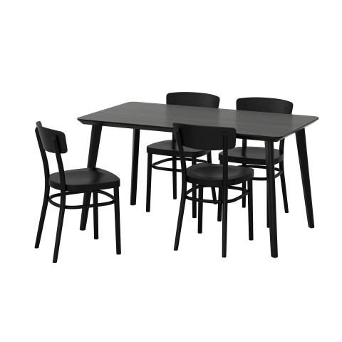 Стол и 4 стула ЛИСАБО / ИДОЛЬФ черный артикуль № 792.521.89 в наличии. Интернет магазин IKEA Минск. Недорогая доставка и установка.