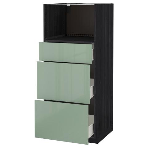 Высокий шкаф для СВЧ с 3 ящиками МЕТОД / ФОРВАРА черный артикуль № 692.664.17 в наличии. Интернет магазин IKEA Республика Беларусь. Недорогая доставка и установка.