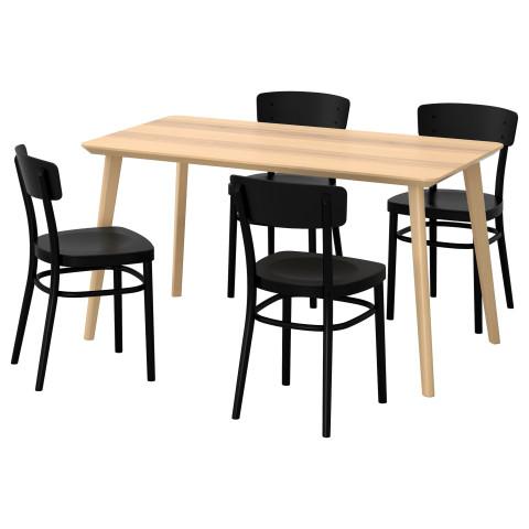 Стол и 4 стула ЛИСАБО / ИДОЛЬФ черный артикуль № 292.299.12 в наличии. Онлайн сайт IKEA Минск. Быстрая доставка и соборка.