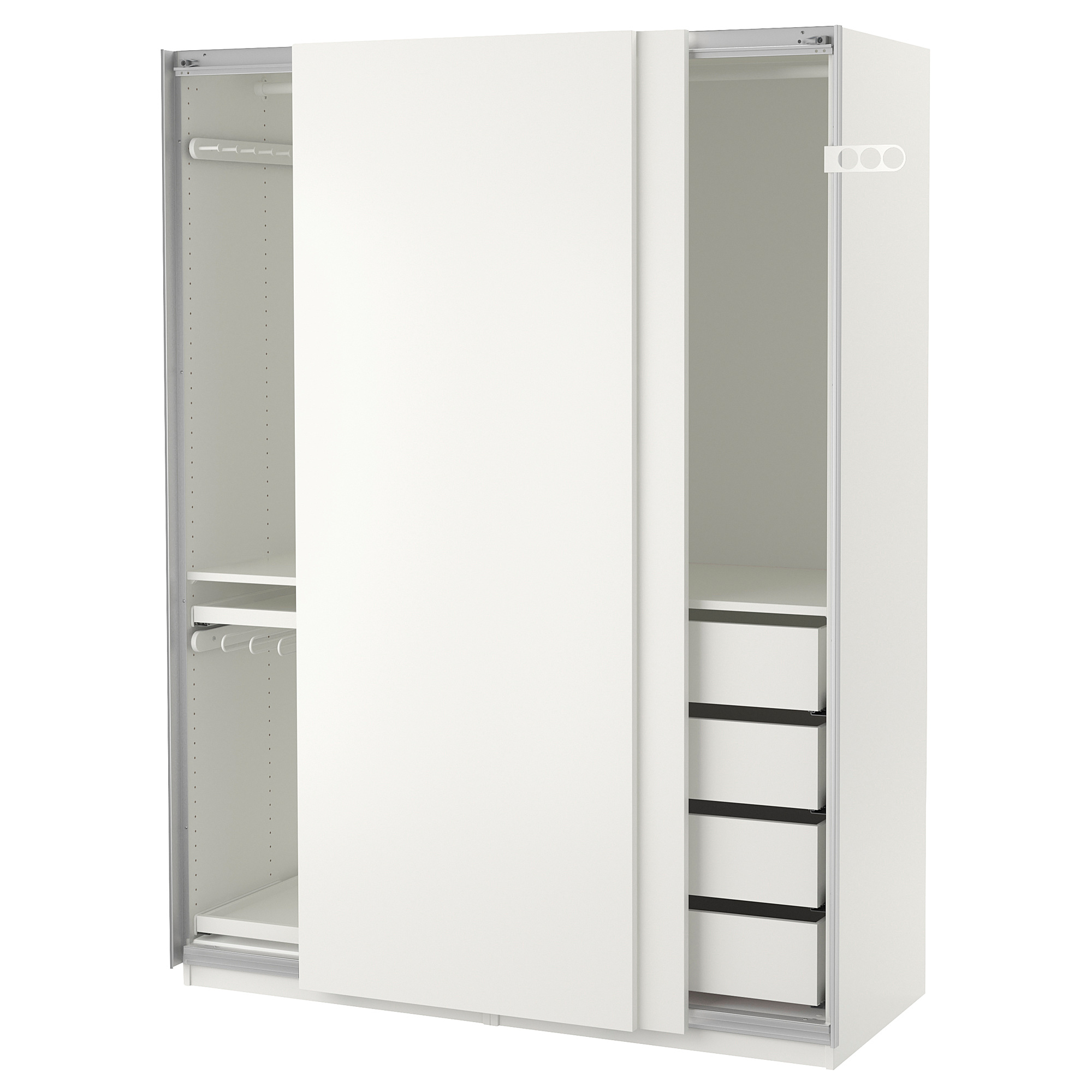 Гардероб ПАКС, белый, Хасвик белый (150x66x201 см)