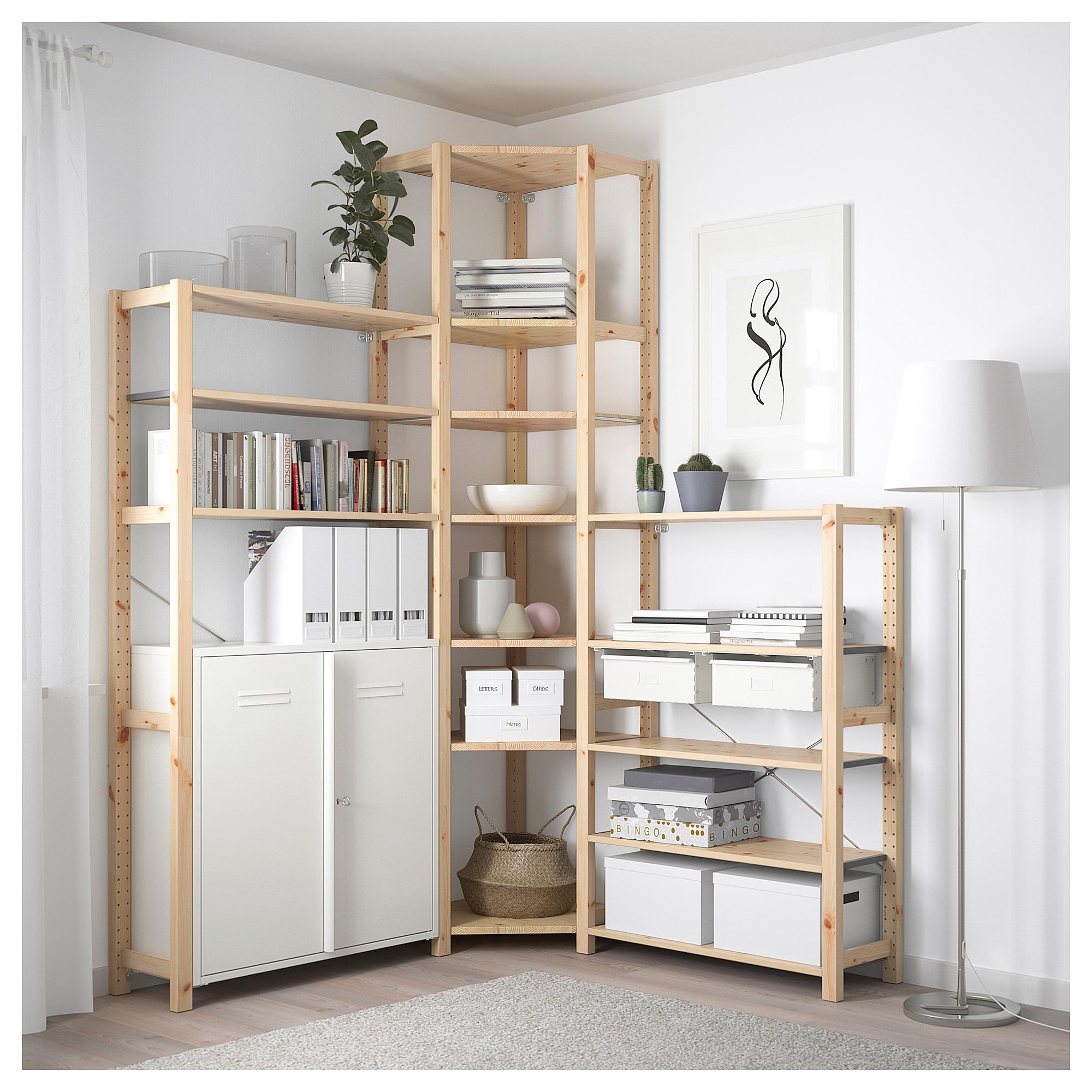 3 секции, угловой ИВАР белый артикуль № 292.499.86 в наличии. Online сайт IKEA Беларусь. Недорогая доставка и установка.