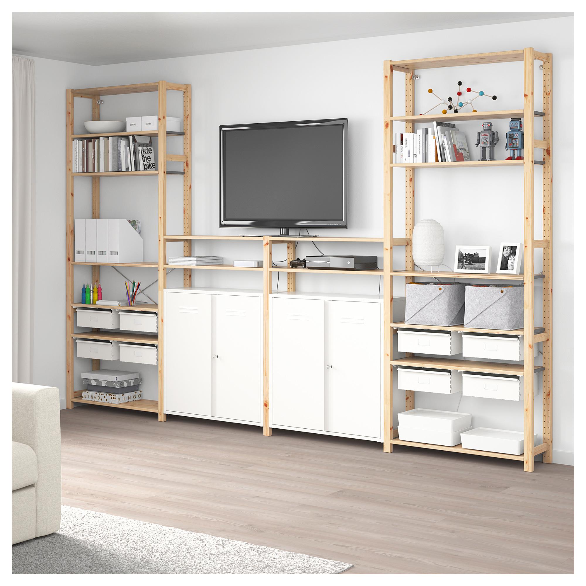 4 секции, полки/шкаф ИВАР белый артикуль № 092.499.92 в наличии. Онлайн сайт IKEA РБ. Недорогая доставка и установка.
