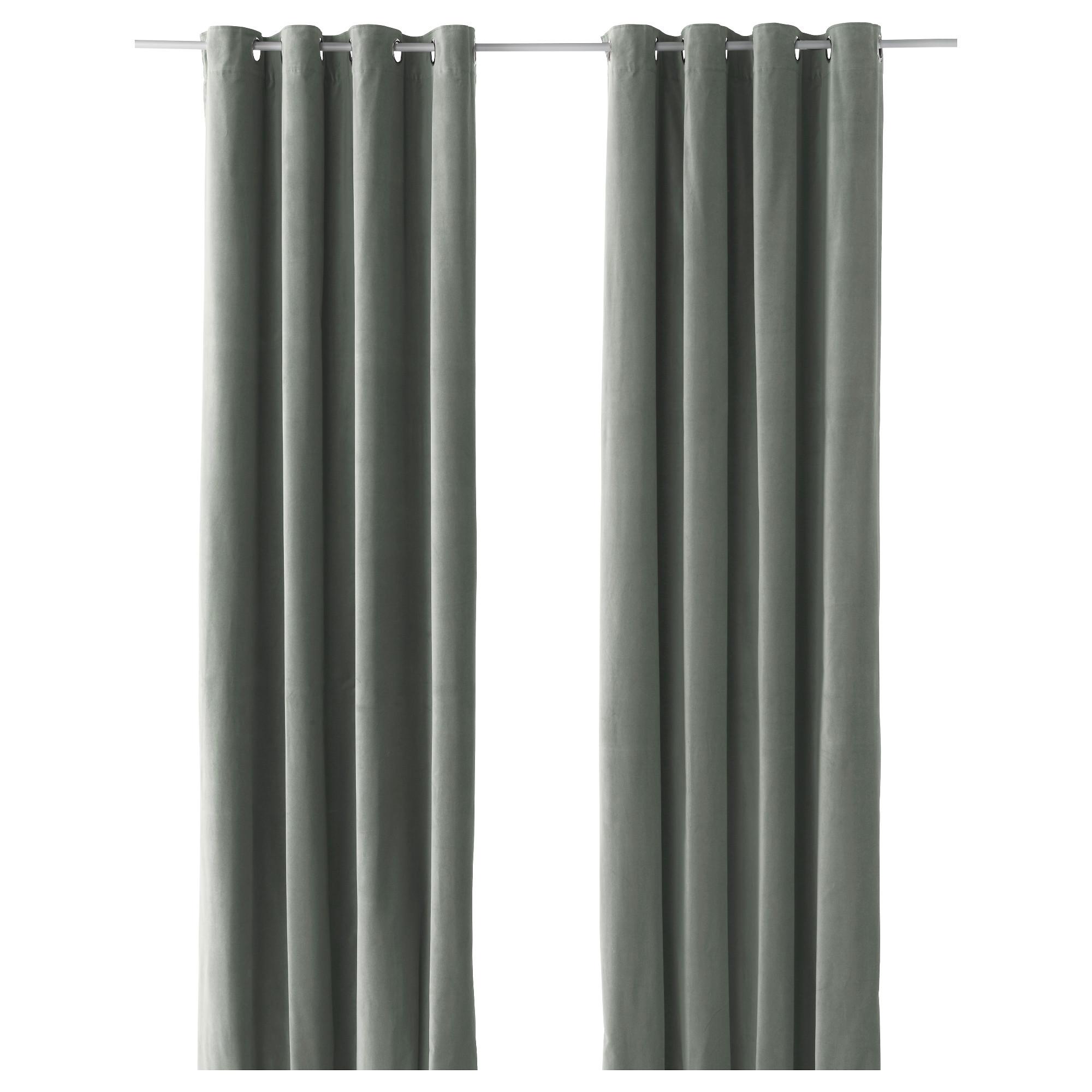 Гардины, 1 пара САНЕЛА серо-зеленый артикуль № 703.705.97 в наличии. Онлайн сайт IKEA Минск. Недорогая доставка и установка.