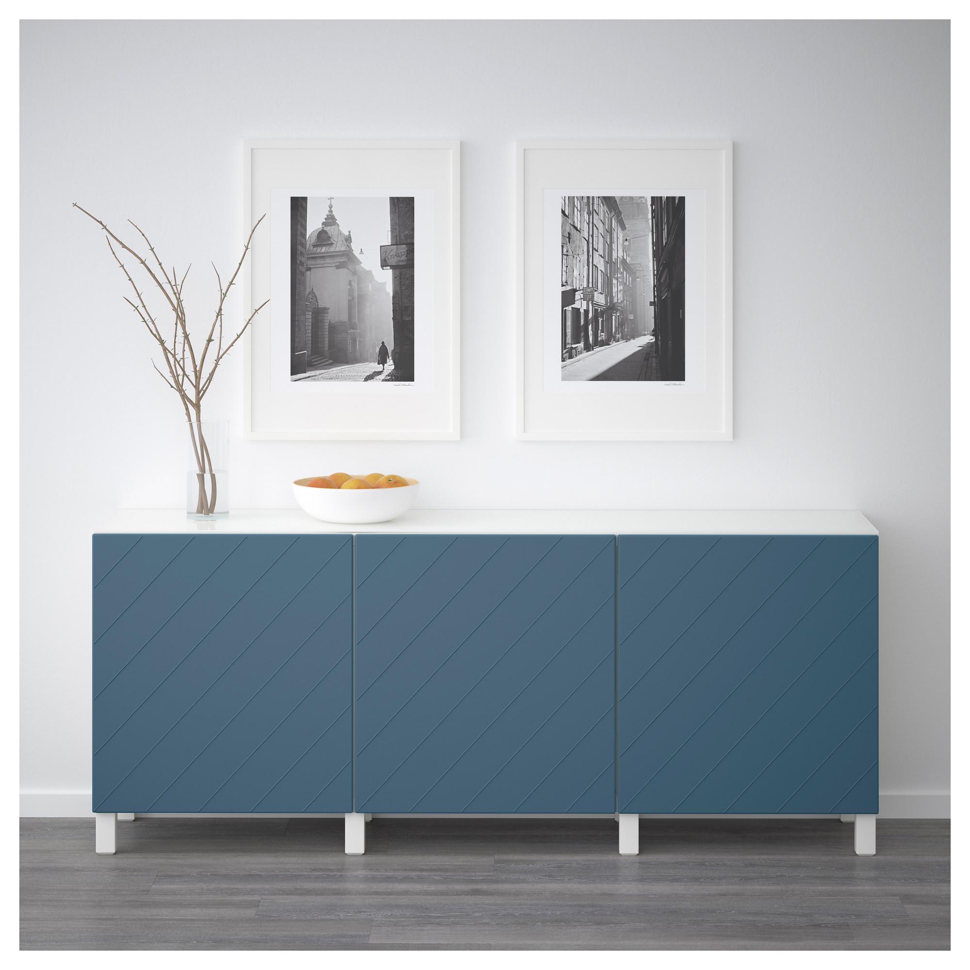 Комбинация для хранения с дверцами БЕСТО темно-синий артикуль № 792.760.67 в наличии. Online сайт IKEA РБ. Недорогая доставка и установка.