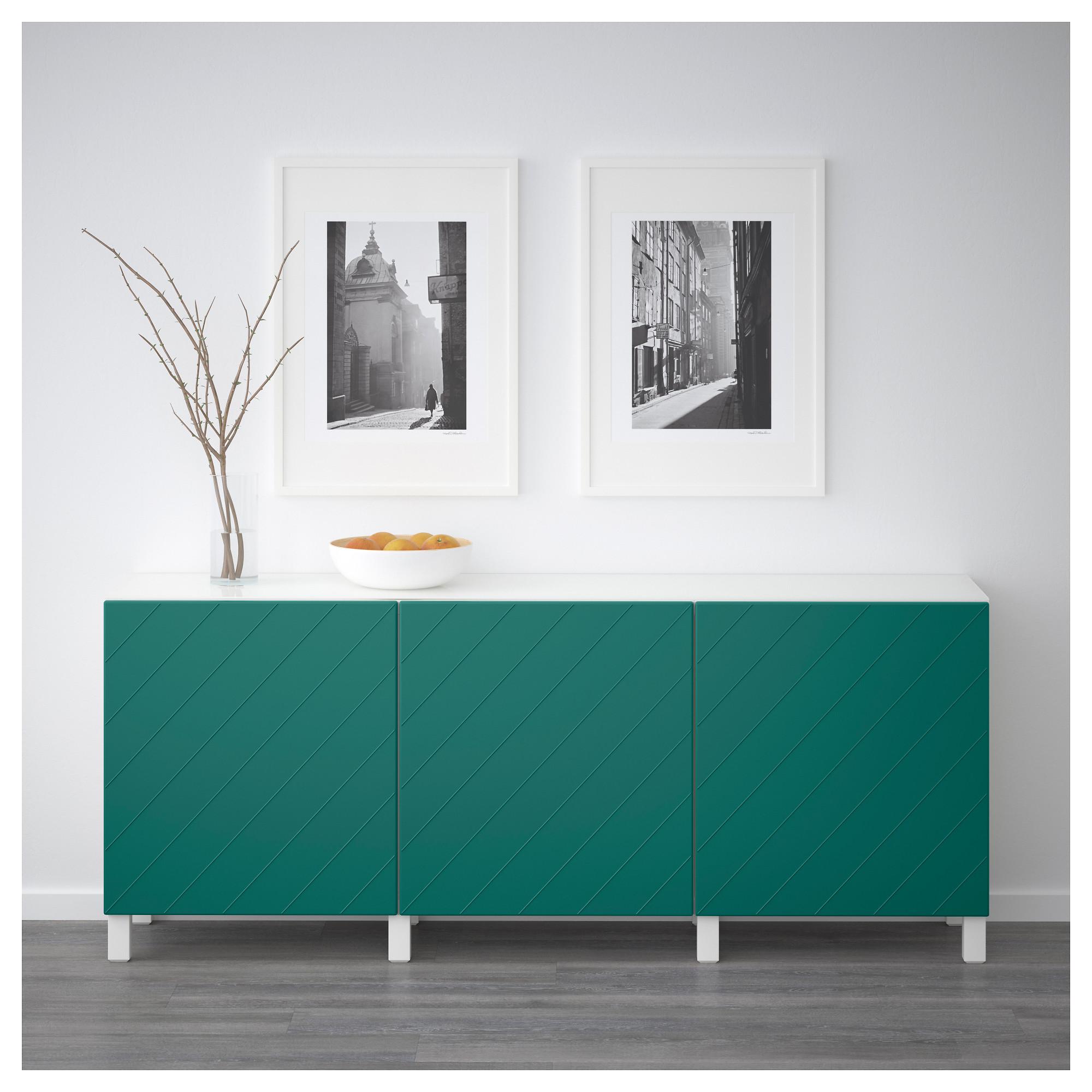 Комбинация для хранения с дверцами БЕСТО сине-зеленый артикуль № 992.760.66 в наличии. Интернет магазин IKEA Минск. Быстрая доставка и установка.
