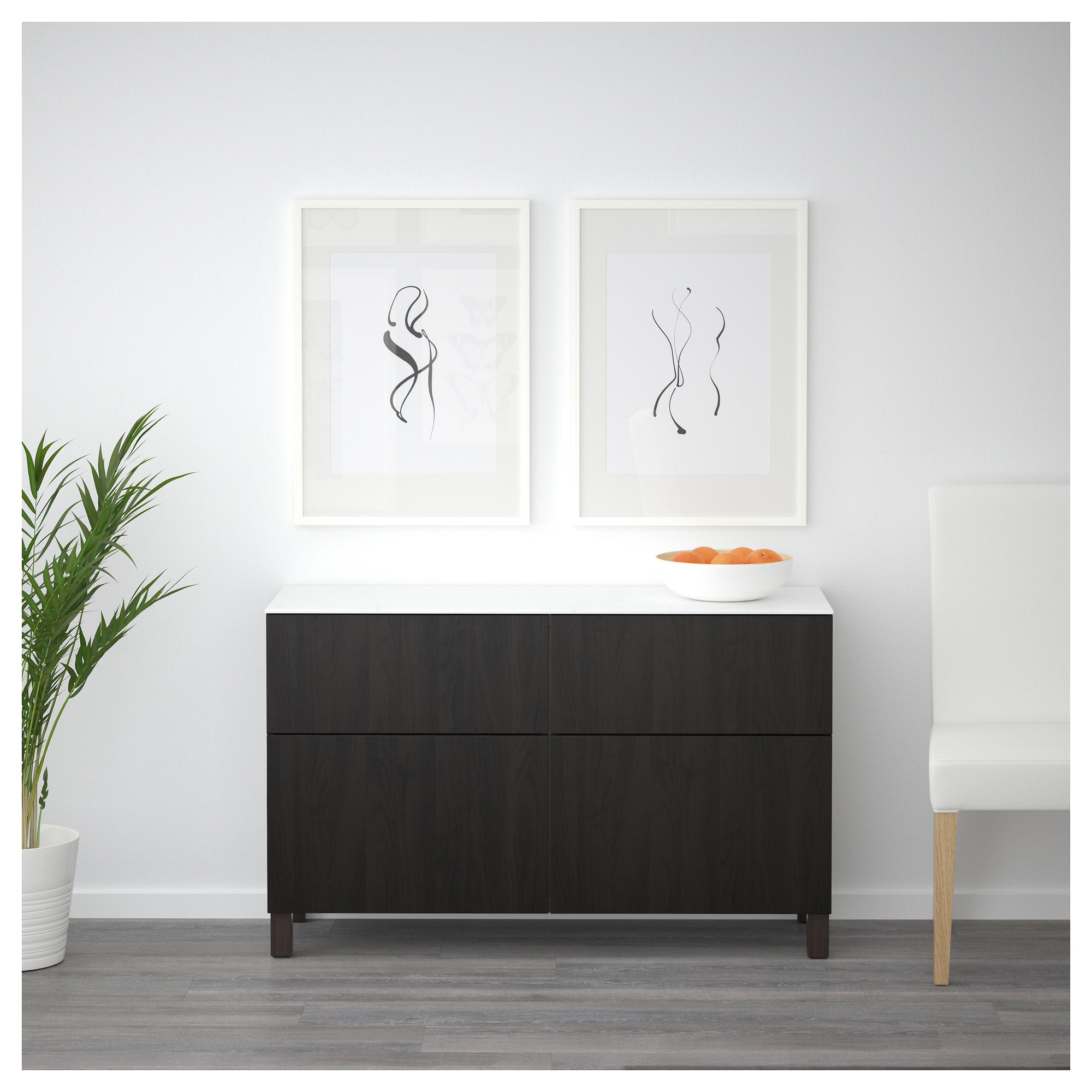 Комбинация для хранения с дверцами, ящиками БЕСТО черно-коричневый артикуль № 592.447.13 в наличии. Online сайт IKEA РБ. Недорогая доставка и монтаж.