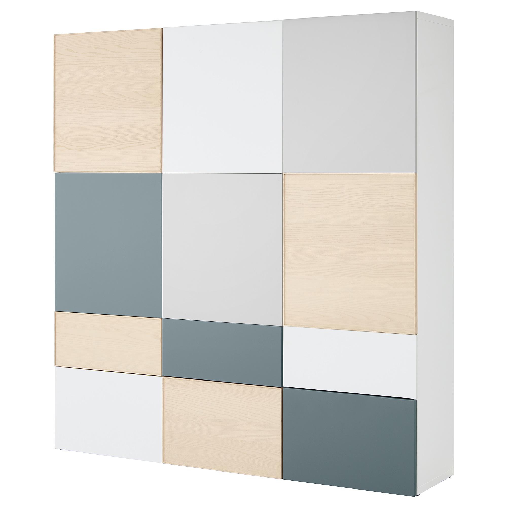 Комбинация для хранения с дверцами, ящиками БЕСТО, белый/светло-серый, серо-бирюзовый ясеневый шпон (180x42x192 см)