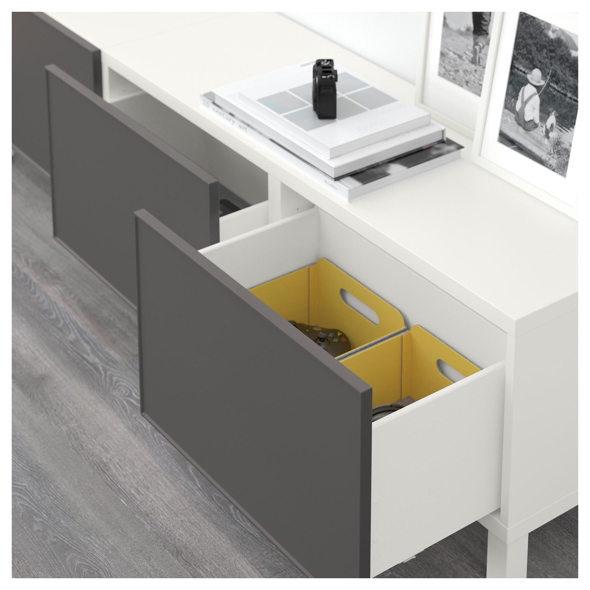 Комбинация для хранения с ящиками БЕСТО темно-серый артикуль № 192.489.87 в наличии. Онлайн сайт IKEA Республика Беларусь. Быстрая доставка и установка.