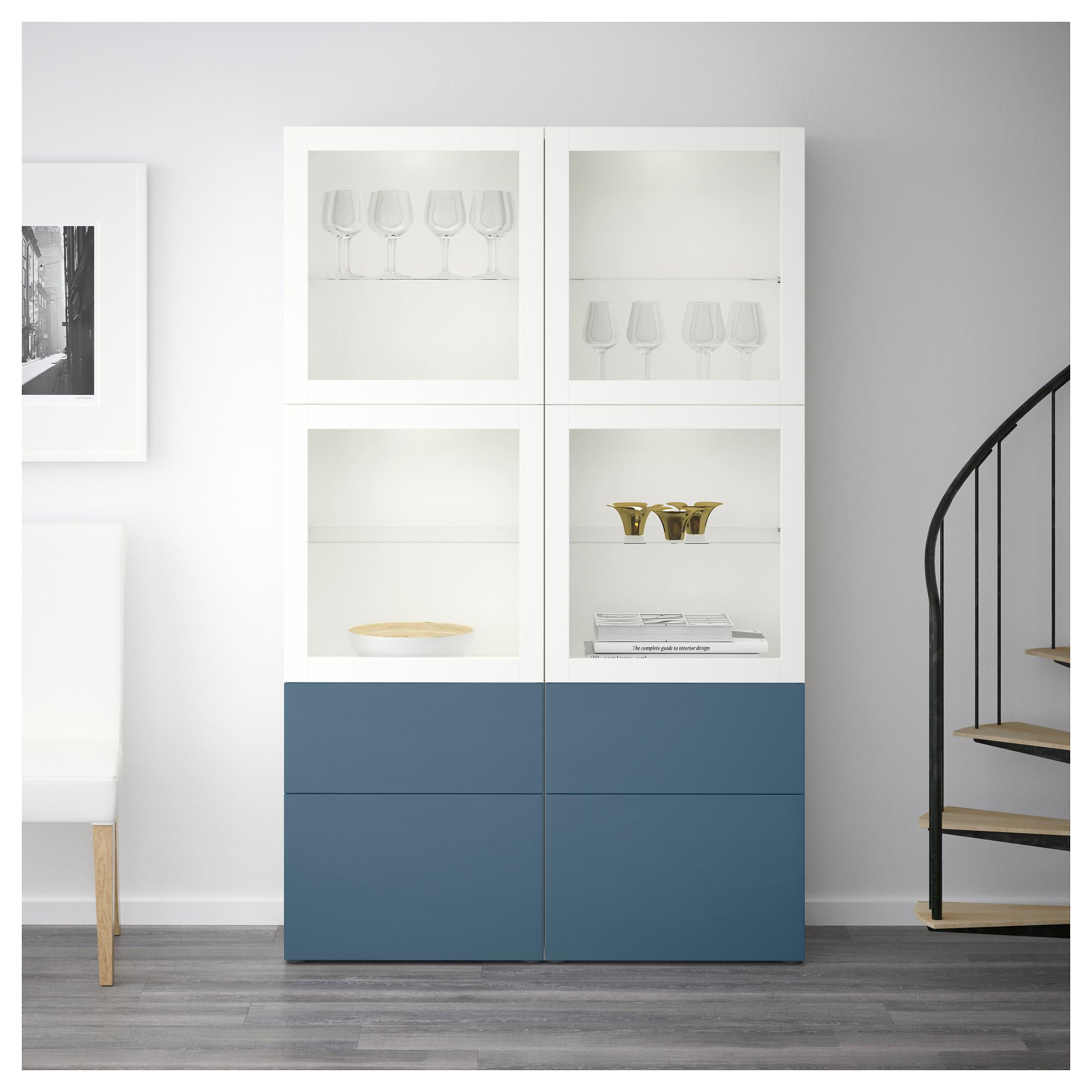 Комбинация для хранения со стеклянными дверцами БЕСТО артикуль № 092.467.62 в наличии. Online магазин IKEA Беларусь. Недорогая доставка и установка.