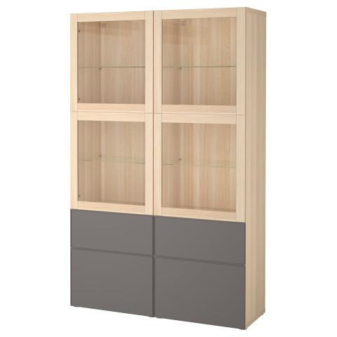 Комбинация для хранения со стеклянными дверцами БЕСТО темно-серый артикуль № 092.467.81 в наличии. Online сайт IKEA Республика Беларусь. Быстрая доставка и соборка.