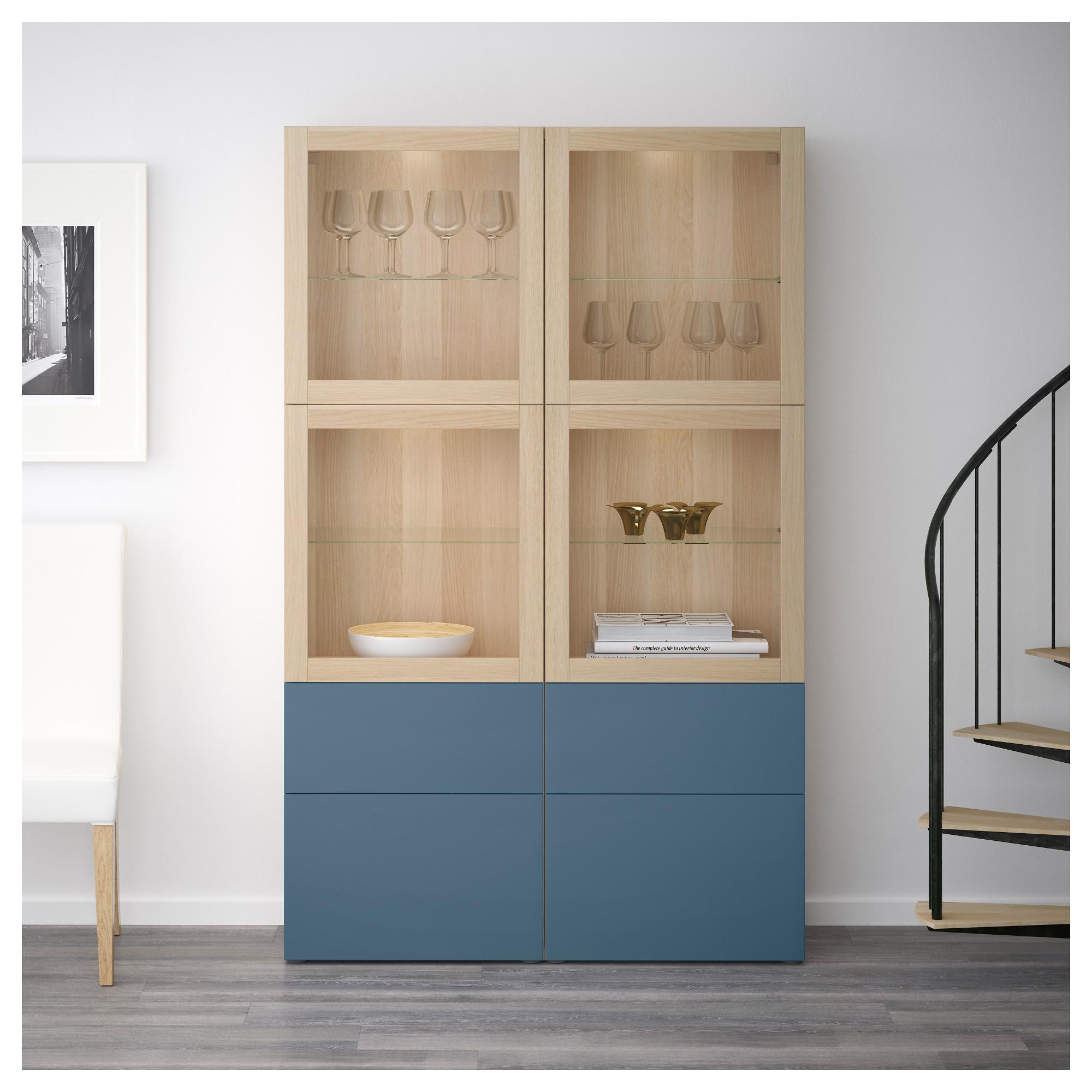 Комбинация для хранения со стеклянными дверцами БЕСТО темно-синий артикуль № 192.467.66 в наличии. Online магазин IKEA РБ. Быстрая доставка и соборка.