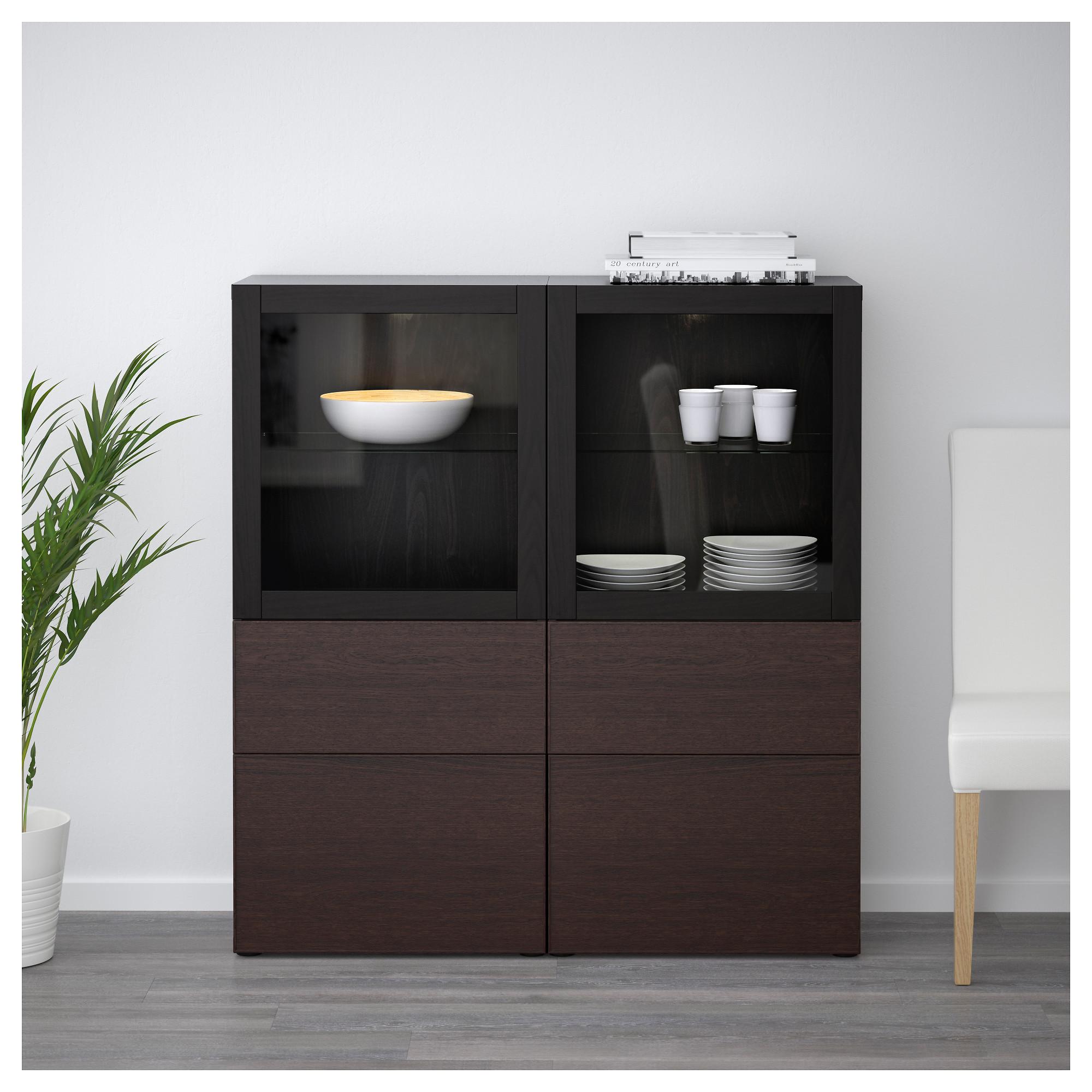 Комбинация для хранения со стеклянными дверцами БЕСТО черно-коричневый артикуль № 192.479.35 в наличии. Онлайн магазин IKEA Республика Беларусь. Быстрая доставка и соборка.