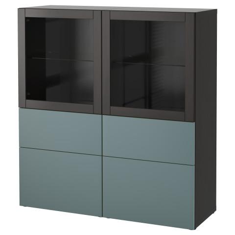 Комбинация для хранения со стеклянными дверцами БЕСТО артикуль № 592.482.40 в наличии. Online сайт IKEA РБ. Быстрая доставка и соборка.