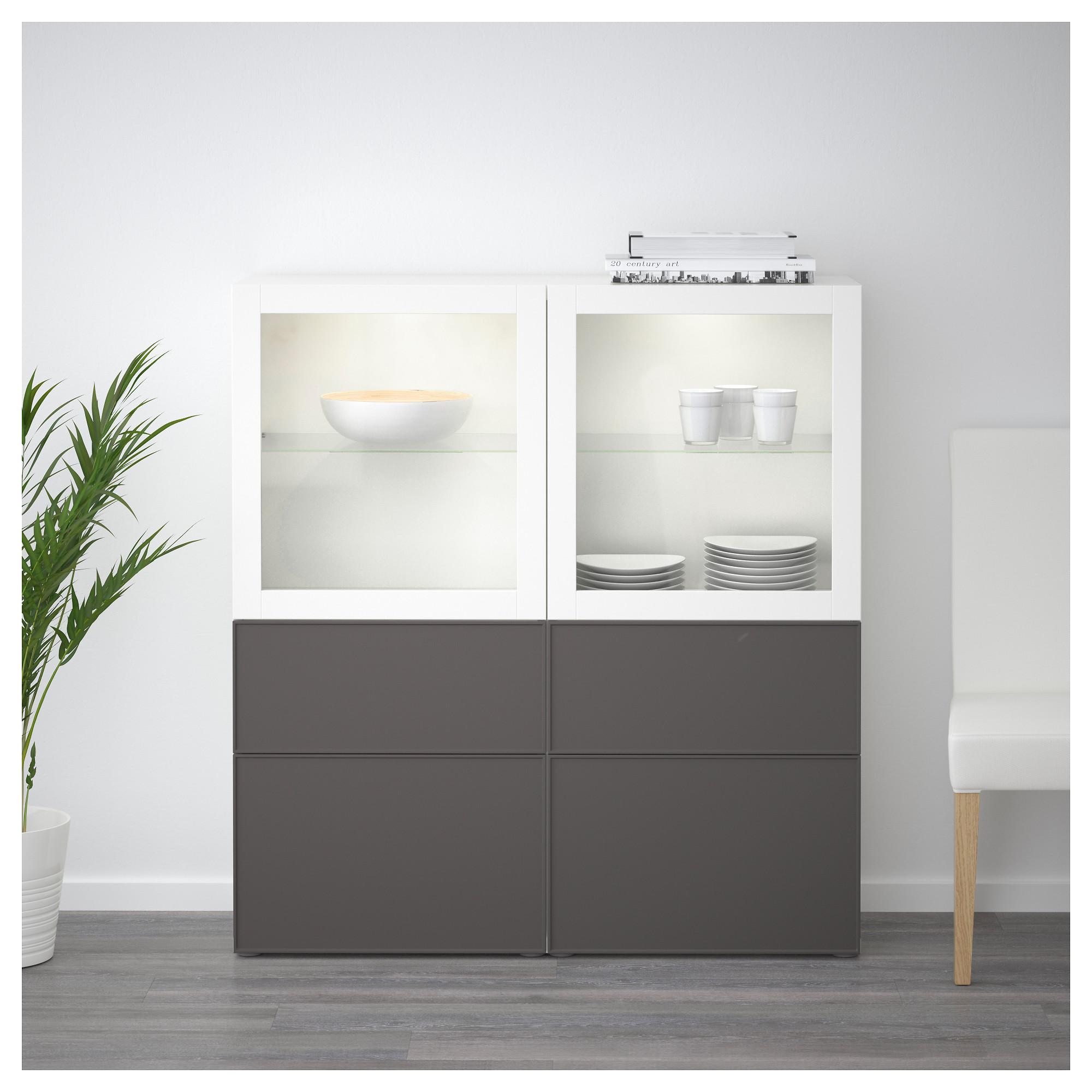 Комбинация для хранения со стеклянными дверцами БЕСТО артикуль № 792.479.42 в наличии. Online сайт IKEA РБ. Быстрая доставка и монтаж.
