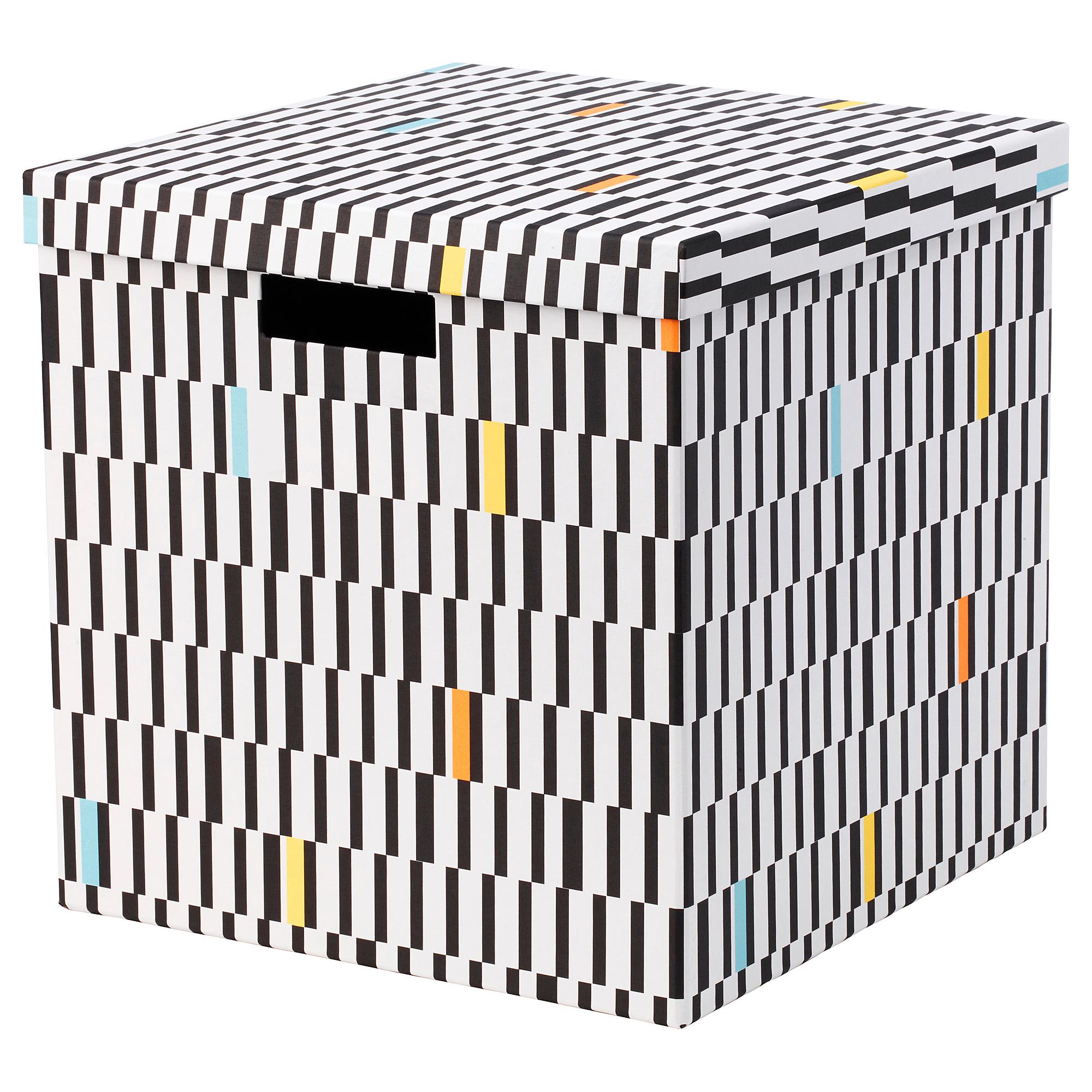 Коробка с крышкой ТЬЕНА черный/белый артикуль № 003.745.27 в наличии. Интернет магазин ИКЕА Беларусь. Недорогая доставка и установка.