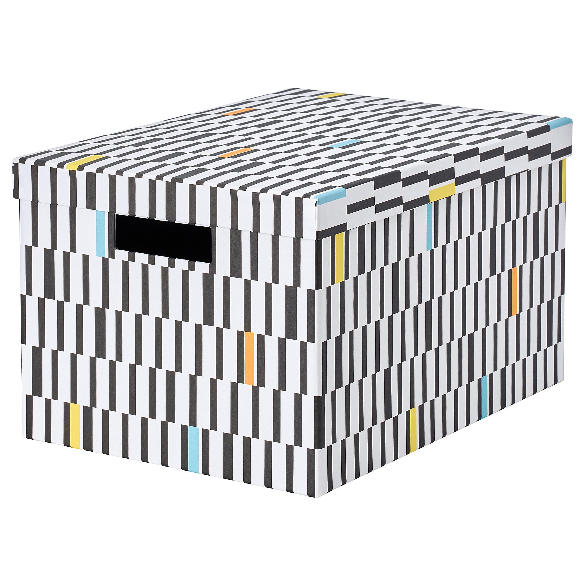 Коробка с крышкой ТЬЕНА черный/белый артикуль № 403.745.25 в наличии. Online магазин IKEA Беларусь. Недорогая доставка и установка.