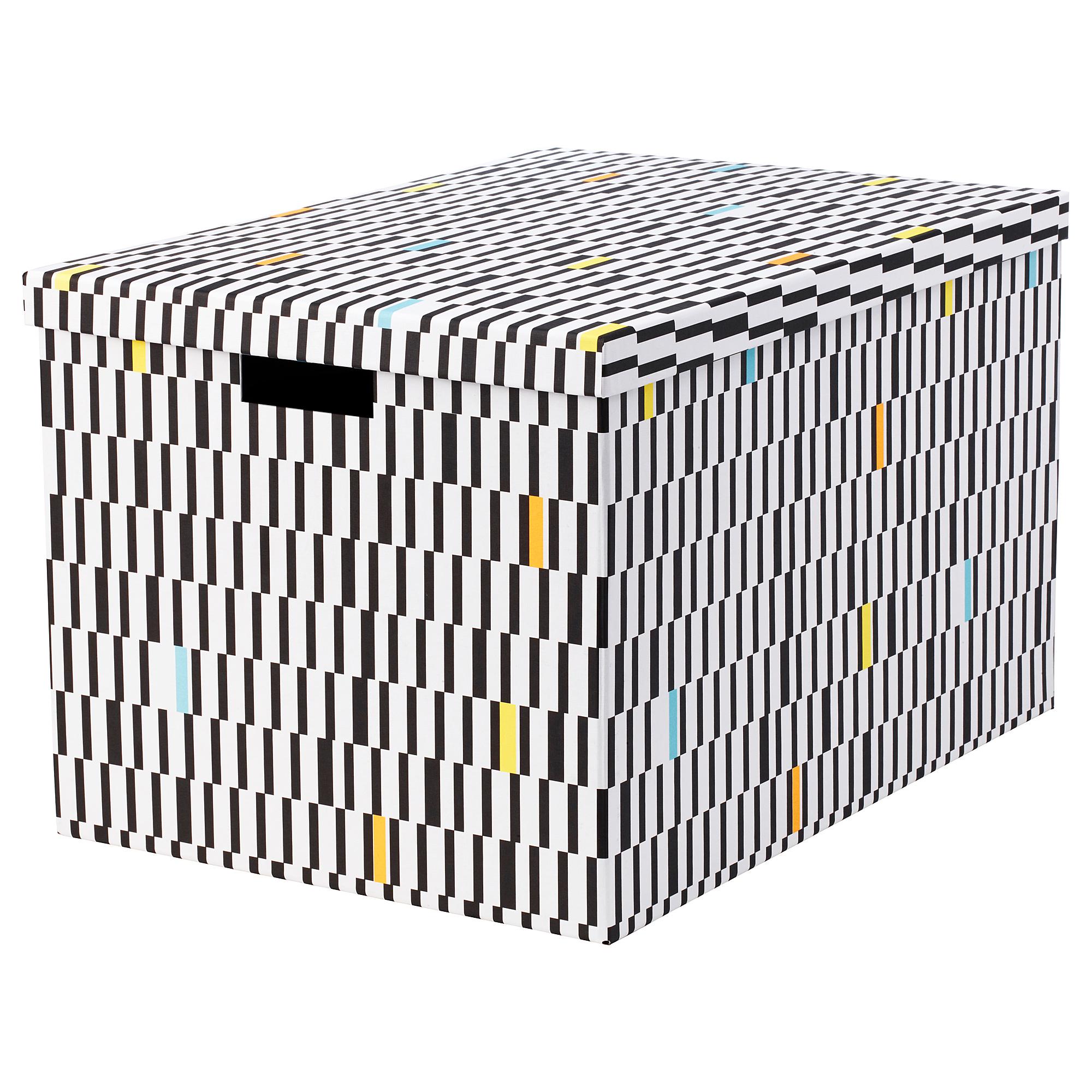 Коробка с крышкой ТЬЕНА черный/белый артикуль № 603.745.29 в наличии. Online магазин IKEA Минск. Быстрая доставка и соборка.