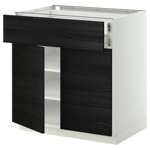 Напольный шкаф, 2 дверцы, 2 ящика МЕТОД / ФОРВАРА черный артикуль № 292.673.29 в наличии. Online сайт IKEA РБ. Недорогая доставка и установка.