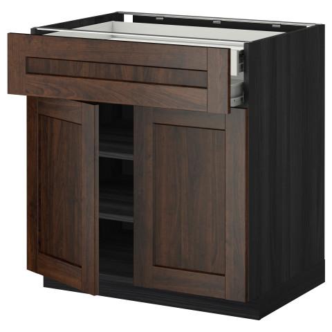 Напольный шкаф, 2 дверцы, 2 ящика МЕТОД / ФОРВАРА черный артикуль № 992.616.87 в наличии. Интернет магазин IKEA Минск. Быстрая доставка и установка.