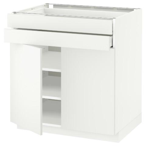 Напольный шкаф, 2 дверцы, 2 ящика МЕТОД / МАКСИМЕРА белый артикуль № 092.314.21 в наличии. Онлайн каталог IKEA Минск. Быстрая доставка и установка.
