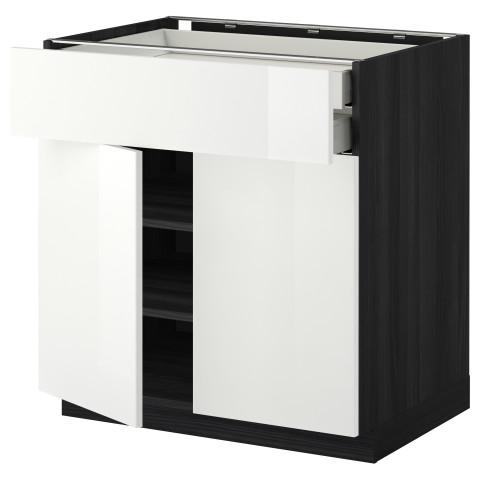 Напольный шкаф, 2 дверцы, 2 ящика МЕТОД / МАКСИМЕРА черный артикуль № 092.354.57 в наличии. Онлайн магазин IKEA Минск. Недорогая доставка и соборка.
