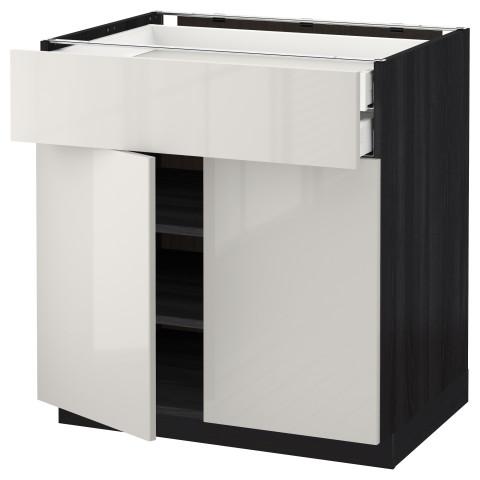 Напольный шкаф, 2 дверцы, 2 ящика МЕТОД / МАКСИМЕРА черный артикуль № 492.354.55 в наличии. Интернет магазин IKEA Минск. Быстрая доставка и монтаж.
