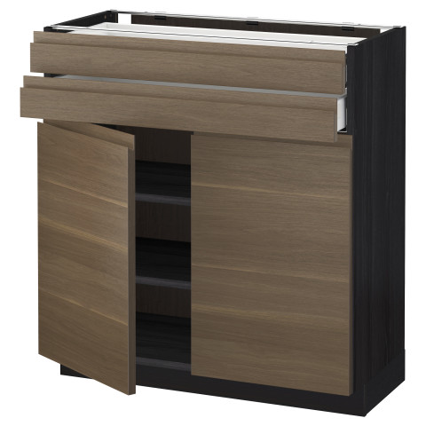 Напольный шкаф, 2 дверцы, 2 ящика МЕТОД / МАКСИМЕРА черный артикуль № 492.365.15 в наличии. Онлайн сайт IKEA Беларусь. Недорогая доставка и монтаж.