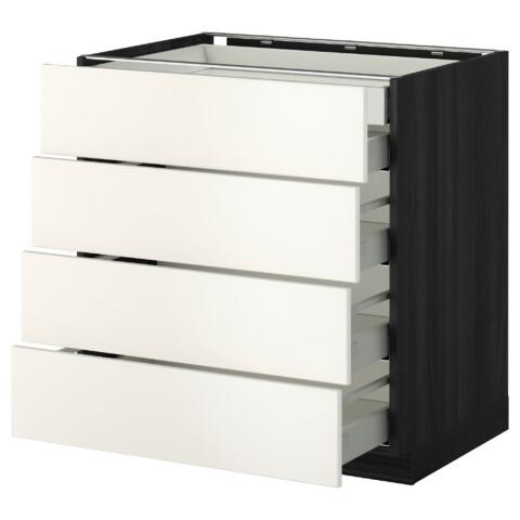 Напольный шкаф 4 фронтальных панели, 2 низких, 3 средних ящика МЕТОД / МАКСИМЕРА черный артикуль № 792.337.99 в наличии. Онлайн сайт ИКЕА РБ. Быстрая доставка и монтаж.