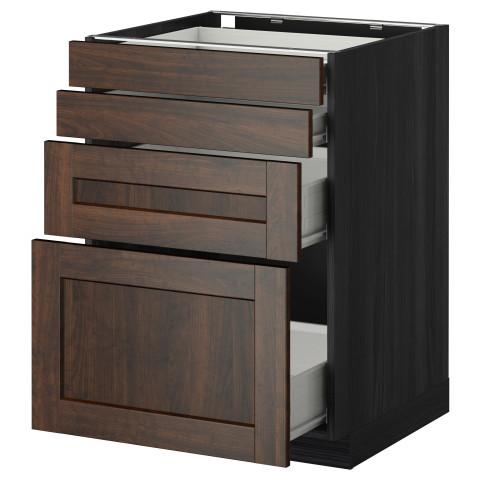 Напольный шкаф 4 фронтальных панели, 4 ящика МЕТОД / ФОРВАРА черный артикуль № 592.617.74 в наличии. Online сайт IKEA РБ. Быстрая доставка и установка.