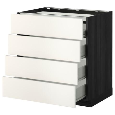 Напольный шкаф, 4 фронтальных панели, 4 ящика МЕТОД / ФОРВАРА черный артикуль № 692.622.64 в наличии. Онлайн магазин IKEA Минск. Недорогая доставка и соборка.