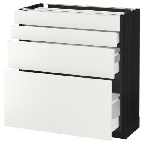 Напольный шкаф 4 фронтальных панели, 4 ящика МЕТОД / МАКСИМЕРА черный артикуль № 192.315.43 в наличии. Онлайн магазин IKEA Минск. Быстрая доставка и соборка.