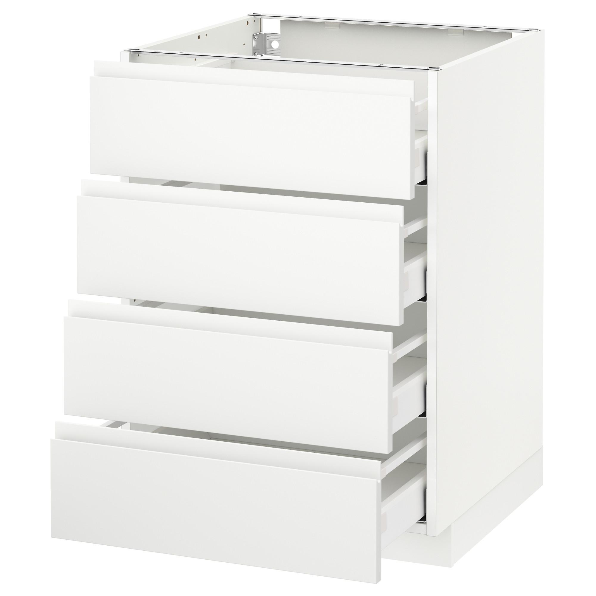 Напольный шкаф 4 фронтальных панели, 4 ящика МЕТОД / МАКСИМЕРА белый артикуль № 492.382.46 в наличии. Онлайн каталог IKEA Минск. Быстрая доставка и установка.