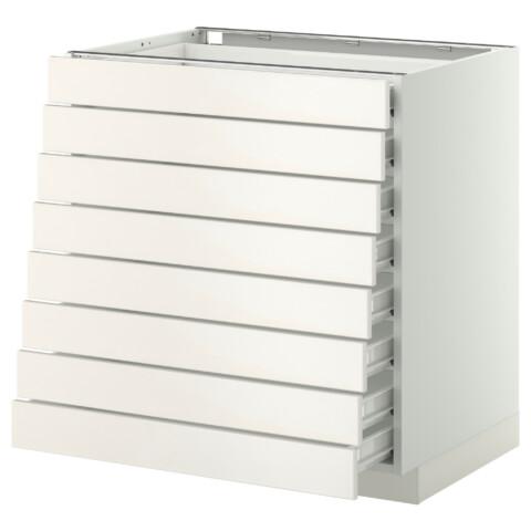 Напольный шкаф 8 фронтальных, 8 низких ящиков МЕТОД / ФОРВАРА белый артикуль № 492.618.97 в наличии. Онлайн каталог IKEA Минск. Недорогая доставка и установка.