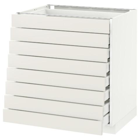 Напольный шкаф 8 фронтальных, 8 низких ящиков МЕТОД / МАКСИМЕРА белый артикуль № 592.365.72 в наличии. Онлайн сайт IKEA Минск. Быстрая доставка и соборка.
