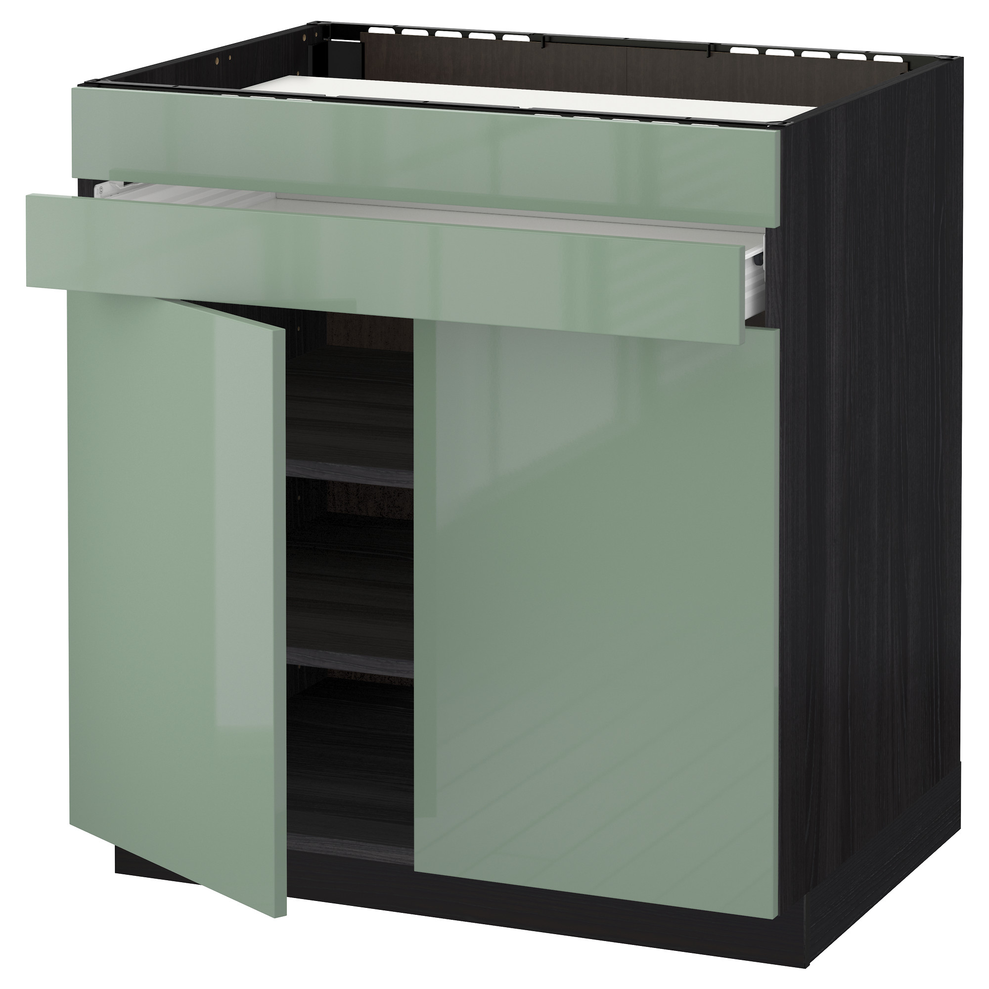 Напольный шкаф для варочной панели, 2 ящика, 2 фасада, 1 ящик МЕТОД / ФОРВАРА черный артикуль № 692.656.82 в наличии. Online магазин IKEA РБ. Быстрая доставка и соборка.