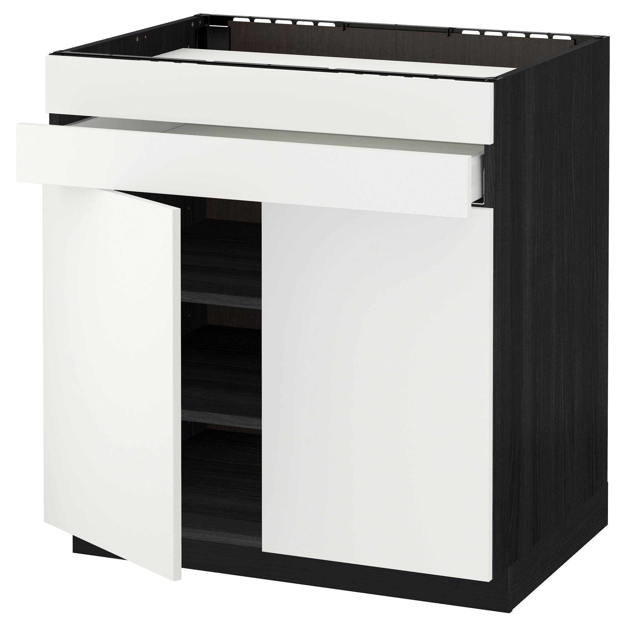 Напольный шкаф для варочной панели, 2 ящика, 2 фасада, 1 ящик МЕТОД / МАКСИМЕРА черный артикуль № 292.314.96 в наличии. Онлайн сайт IKEA Минск. Быстрая доставка и монтаж.