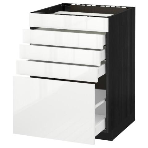 Напольный шкаф для варочной панели, 5 фасадов, 4 ящиков МЕТОД / МАКСИМЕРА черный артикуль № 192.359.18 в наличии. Онлайн сайт IKEA Беларусь. Быстрая доставка и соборка.
