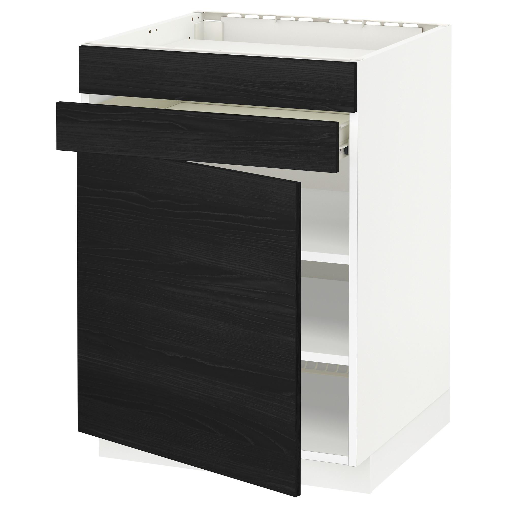 Напольный шкаф для варочной панели, доводчик, 2 фасада, 1 ящик МЕТОД / ФОРВАРА черный артикуль № 892.673.88 в наличии. Онлайн сайт ИКЕА РБ. Быстрая доставка и соборка.