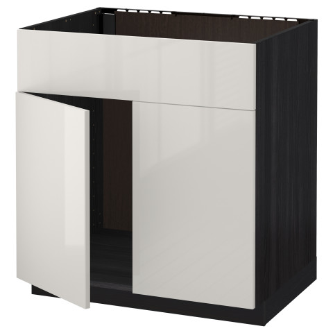 Напольный шкаф под мойку 2 дверцы/фронтальных панели МЕТОД черный артикуль № 592.321.83 в наличии. Интернет сайт IKEA РБ. Недорогая доставка и установка.
